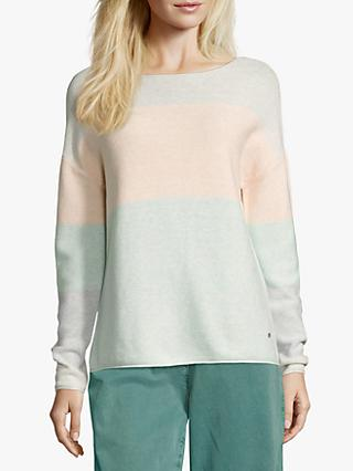 Betty & Co. Cotton Pastel Colour Block Jumper, Emerald/Silver