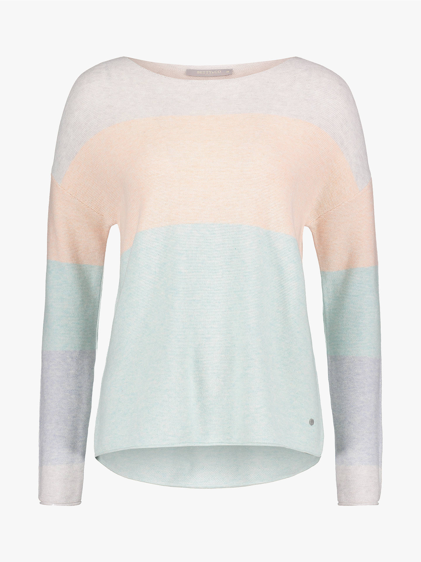 Buy Betty & Co. Cotton Pastel Colour Block Jumper, Emerald/Silver, 10 Online at johnlewis.com