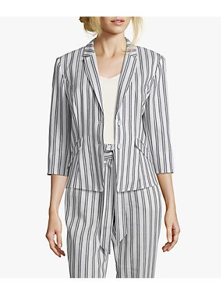Betty & Co. Striped Blazer, White/Blue