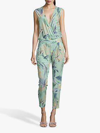 Betty & Co. Leaf Print Jumpsuit, Emerald/Blue