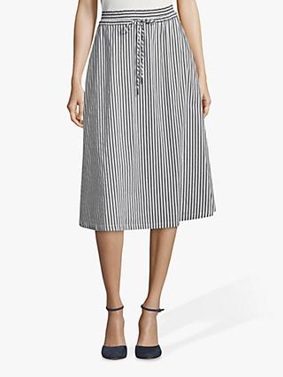 Betty & Co. Striped Cotton Blend Midi Skirt, Blue/White