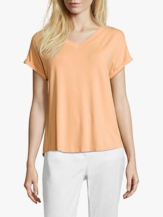 Betty & Co. V-Neck Capped Sleeve Top, Apricot Wash