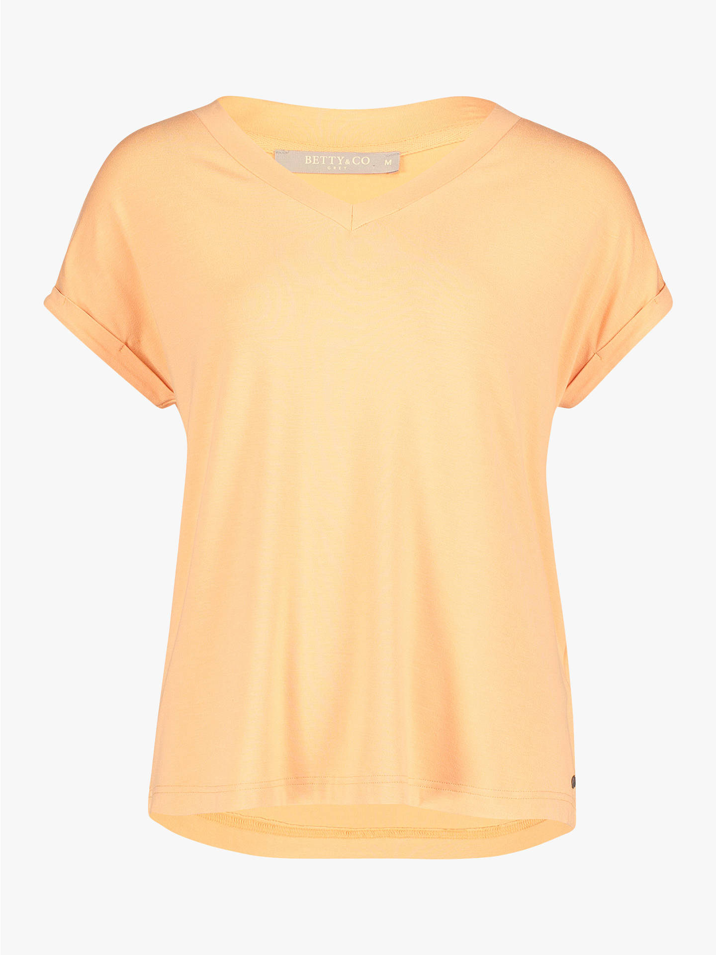 Buy Betty & Co. V-Neck Capped Sleeve Top, Apricot Wash, L Online at johnlewis.com