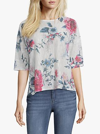 Betty & Co. Floral Blossom Print Three Quarter Sleeve Top, White/Blue