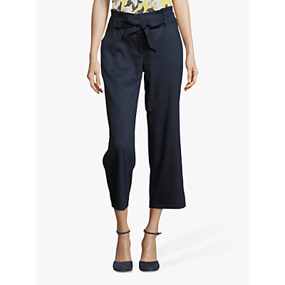 Betty & Co. Cropped Tie Waist Trousers