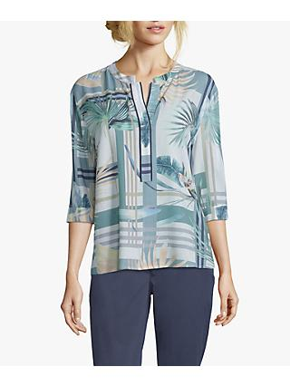 Betty & Co. Hummingbird Floral V-Neck Blouse, White/Emerald