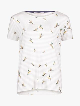 Betty & Co. Hummingbird Stripe Print Top, White/Silver