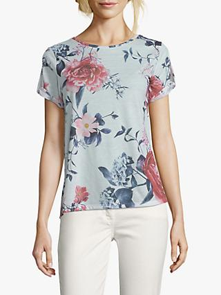 Betty & Co. Floral Blossom Print Round Neck Top, White/Red