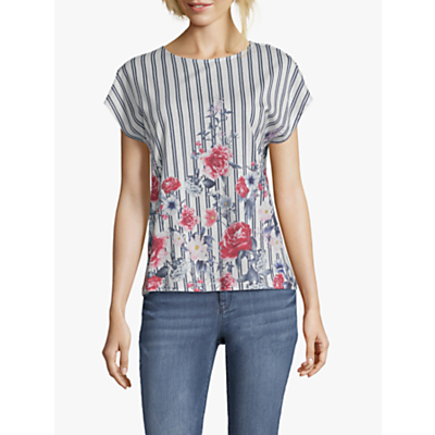 Betty & Co. Floral Stripe Top, White/Blue