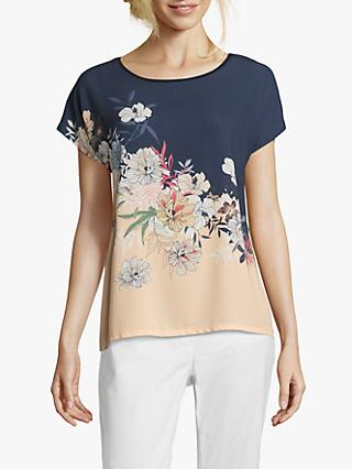 Betty & Co. Floral Printed Round Neck Top, Blue/Apricot
