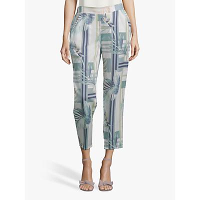 Betty & Co. Leaf Print Trousers, White/Emerald