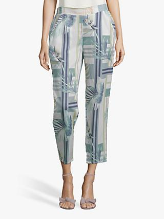 Betty & Co. Leaf Print Trousers, White/Emerald