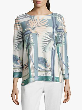 Betty & Co. Bird Print Three Quarter Sleeve Jumper, White/Emerald