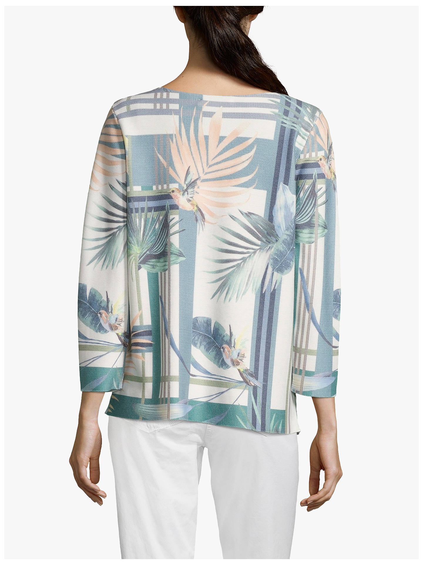 Buy Betty & Co. Bird Print Three Quarter Sleeve Jumper, White/Emerald, 10 Online at johnlewis.com