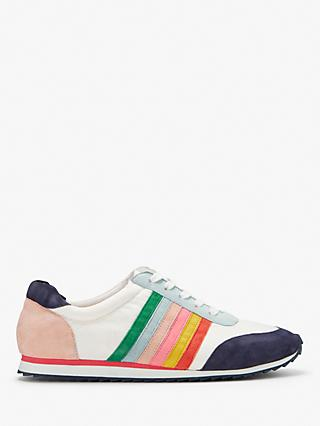 Boden Striped Trainers, White Multi Suede