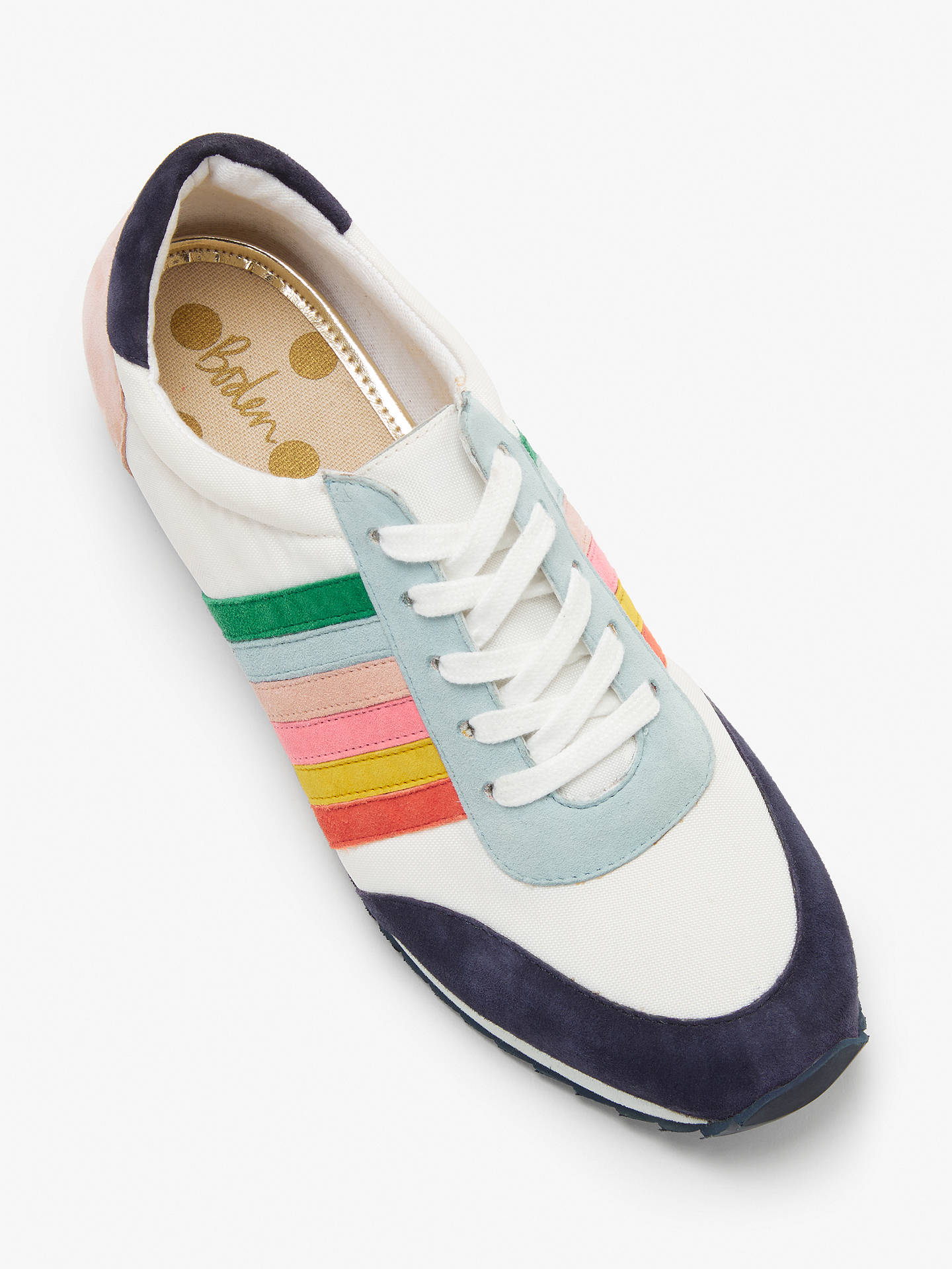 Buy Boden Striped Trainers, White Multi Suede, 8 Online at johnlewis.com