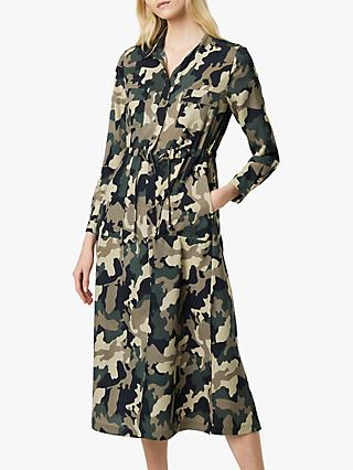 French Connection Camo Midi Shirt Dress, Khaki