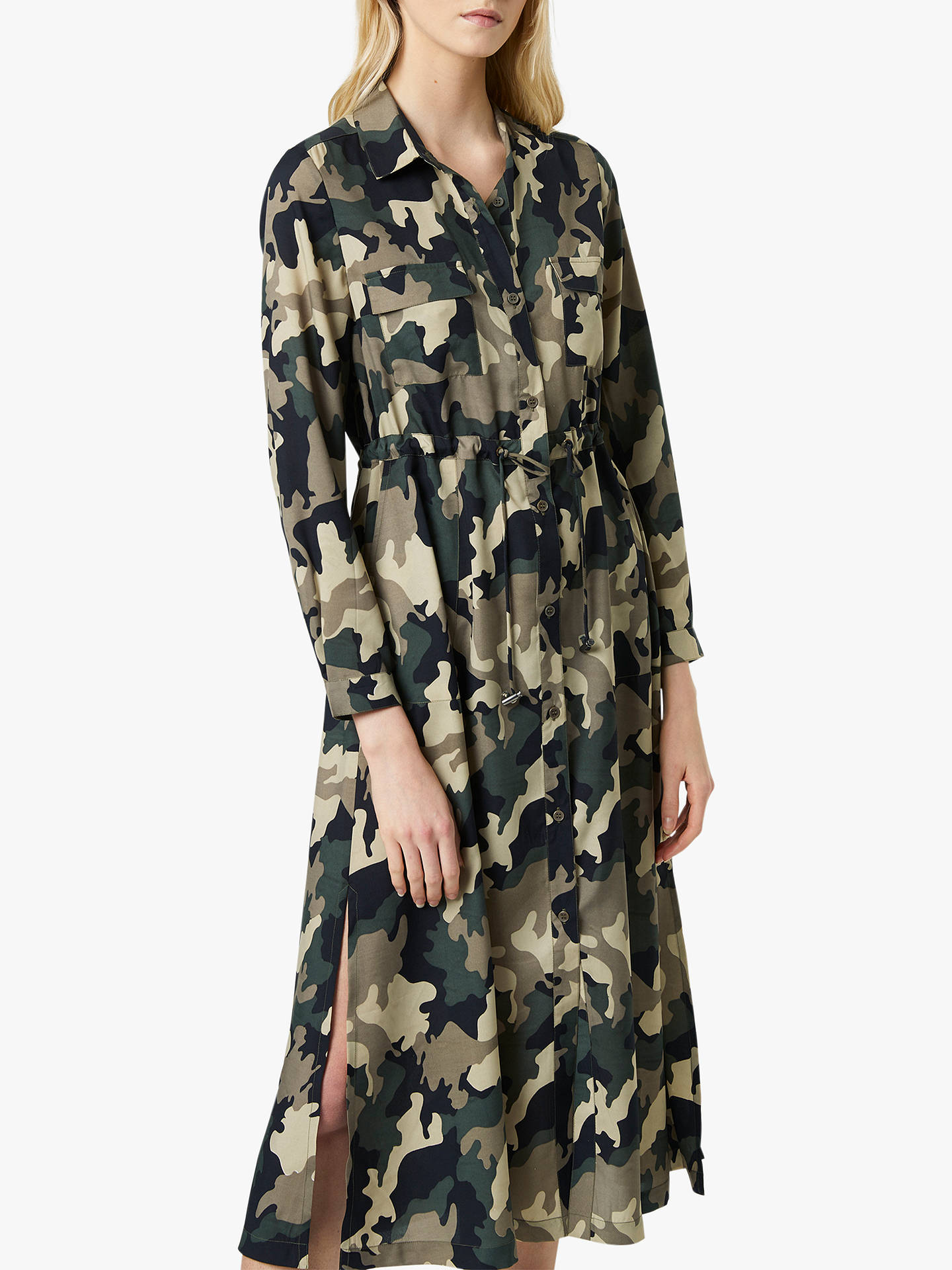 4e265f4ac94 ... Buy French Connection Camo Midi Shirt Dress, Khaki, 16 Online at  johnlewis.com