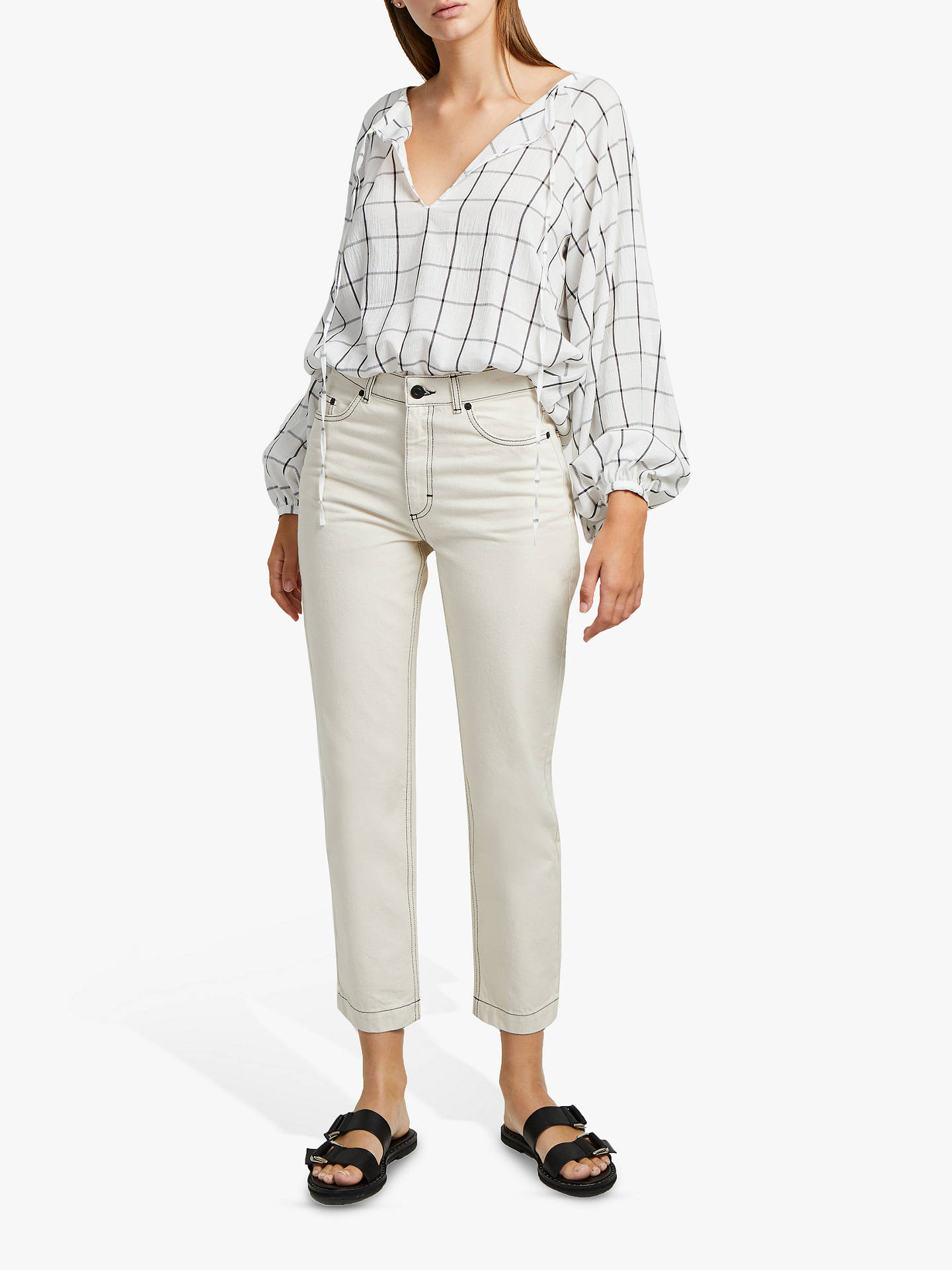 Iris Seeded Cotton Straight Leg Jeans