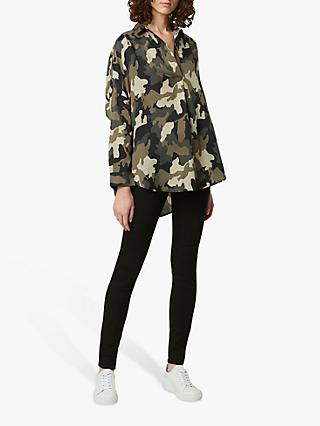 French Connection Camo Pop Over Shirt, Green Camo