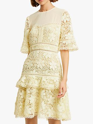 French Connection Calli Lace Dress, Lemon