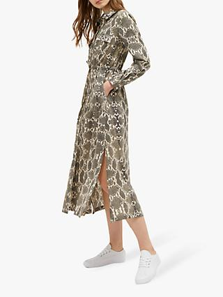 302b585afec0 French Connection Snake Print Midi Shirt Dress, Cream Snake