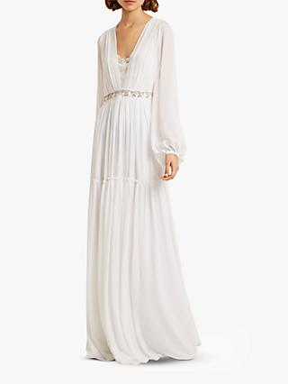 French Connection Alana Embellished Tiered Hem Dress, Linen White