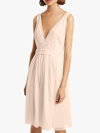 French Connection Estelle Deep V Neck Embellished Dress
