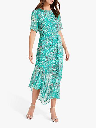 Phase Eight Klara Tie Waist Dress, Jade/Multi