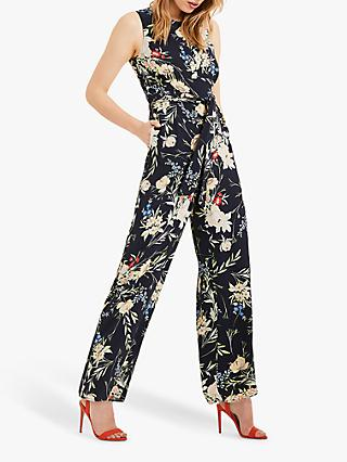 Phase Eight Fabienne Floral Print Jumpsuit, Black/Multi