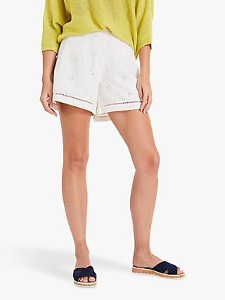 Phase Eight Brianne Broidery Shorts, White