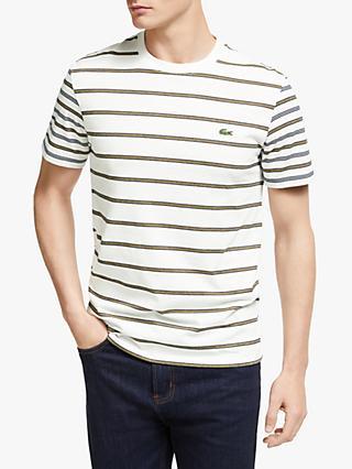 7c5b38485d Lacoste Classic Logo Stripe Crew T-Shirt, Flour/NV Darjali