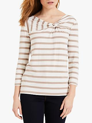 Phase Eight Teegan Stripe Twist Knot Top, Ivory/Stone