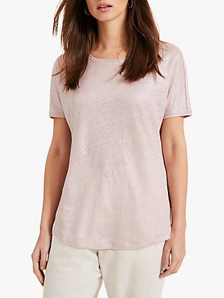 Phase Eight Lara Foil Linen T-Shirt, Pale Pink