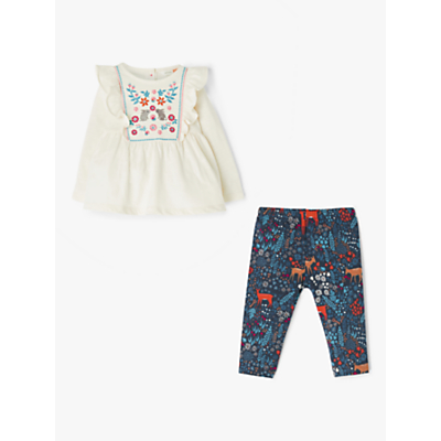 John Lewis & Partners Baby Embroidered Top and Leggings Set, Multi