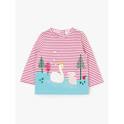 John Lewis & Partners Baby Swan Scene Long Sleeve T-Shirt, Pink/Multi
