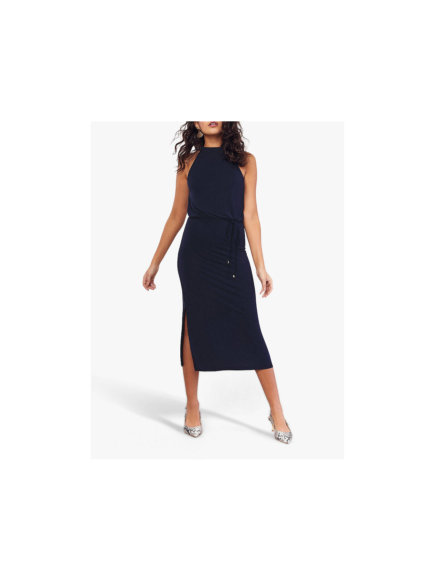 e9f4c6cb7856 Buy Oasis Halter Cupro Midi Dress, Navy, L Online at johnlewis.com ...
