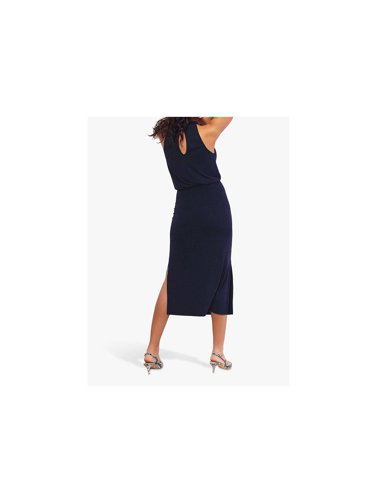c2deec2f5f82 ... Buy Oasis Halter Cupro Midi Dress, Navy, L Online at johnlewis.com ...