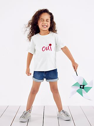 Mintie by Mint Velvet Girls' Oui Slogan T-Shirt, Multi Stripe
