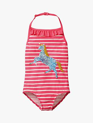 Mini Boden Girls' Unicorn Applique Swimsuit, Pink