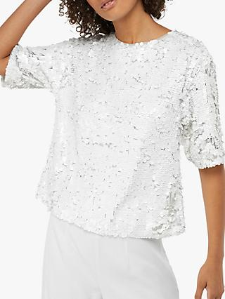 Monsoon Silvia Sequin Top, Ivory