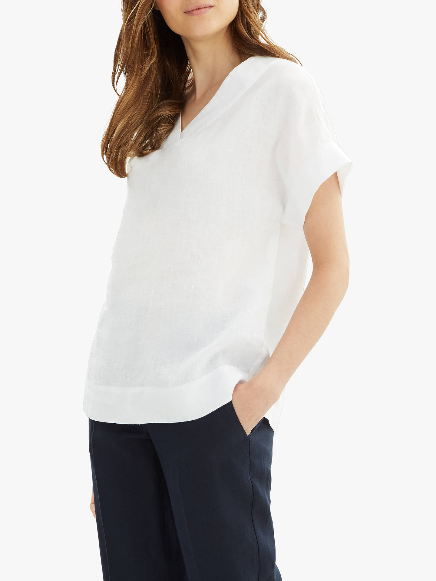 d54329e67e Jaeger Linen V-Neck T-Shirt at John Lewis   Partners