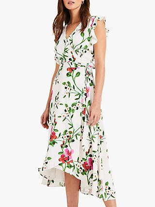 Phase Eight Posy Printed Wrap Dress, Ivory/Multi