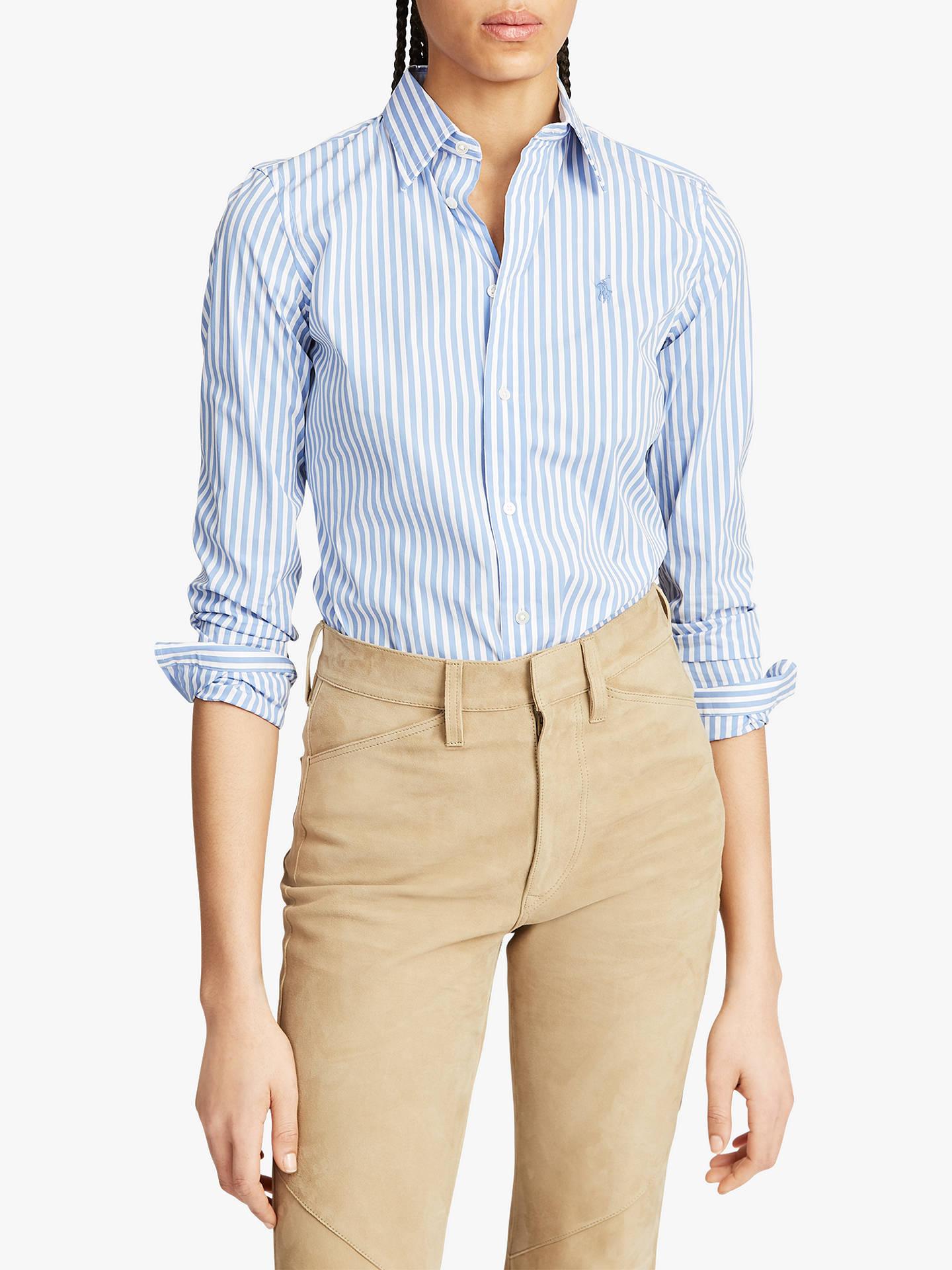 449b788d Buy Polo Ralph Lauren Stretch Slim Fit Striped Shirt, White/Blue, XS Online  ...