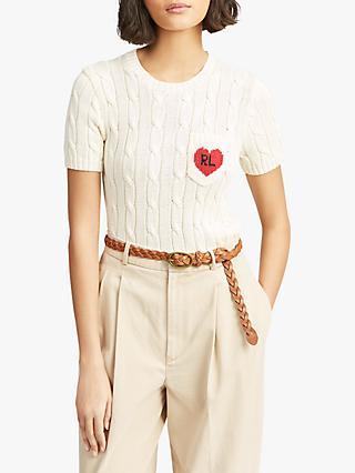 78dfdd0d Polo Ralph Lauren Heart Short Sleeve Jumper, Cream/Red