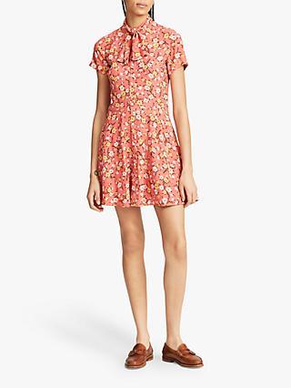 cfe76a94c49 Polo Ralph Lauren Tie Neck Floral Print Dress