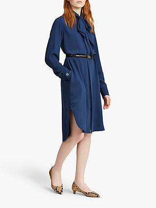 Polo Ralph Lauren Tie Neck Twill Shirt Dress, True Ocean