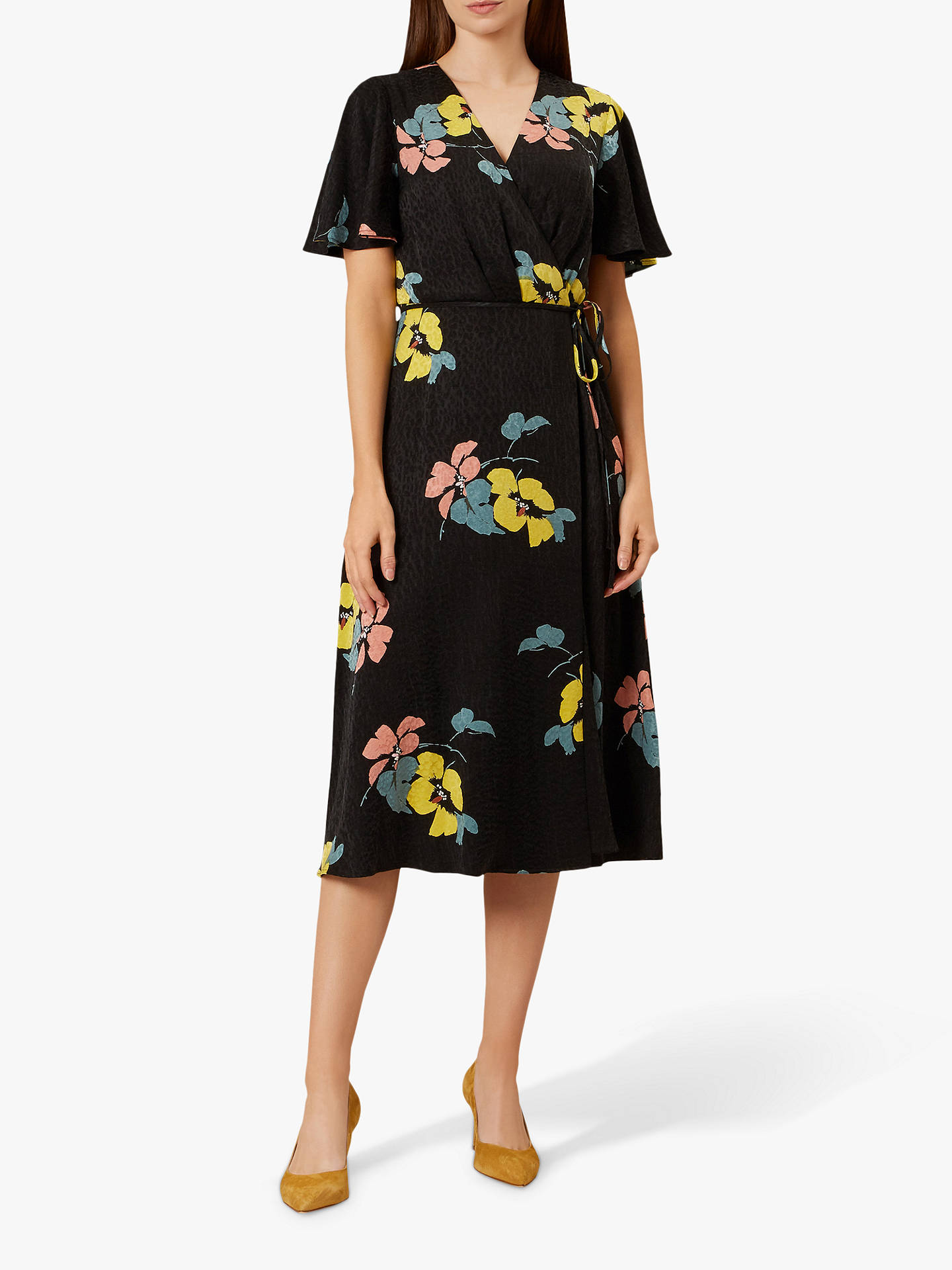 0693d418 Hobbs Peggy Floral Print Midi Dress, Black