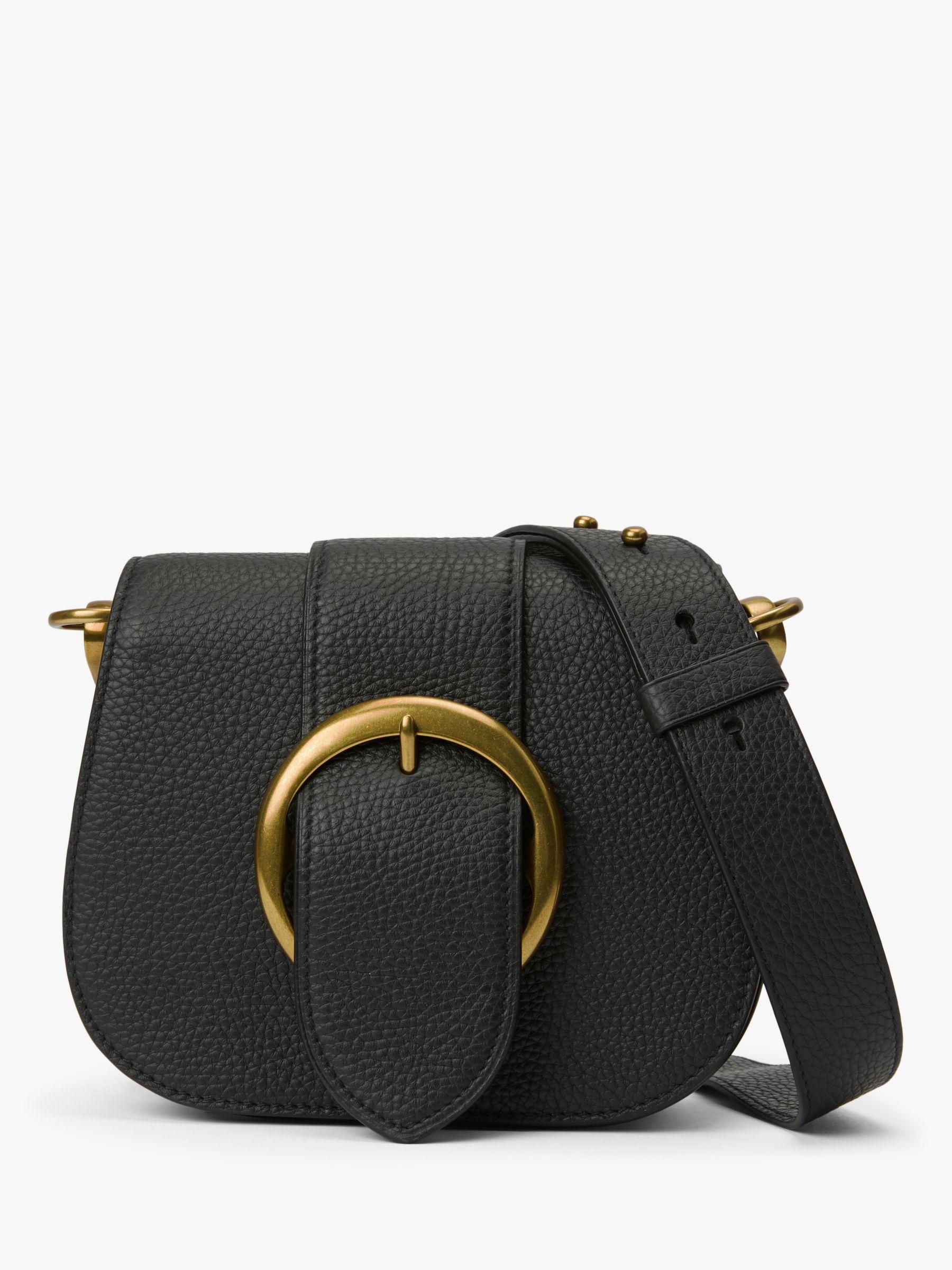 766de7f6b1 Polo Ralph Lauren Lennox Saddle Leather Cross Body Bag, Black