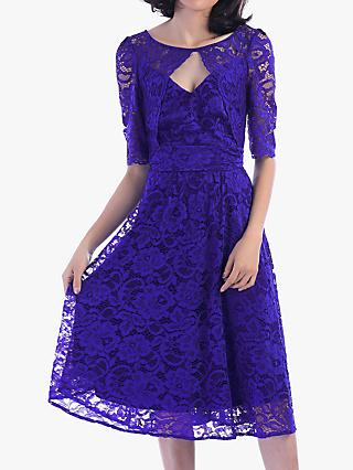 Jolie Moi Fit And Flare Lace Midi Dress